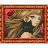 Каролинка КБЛ 3016 Девушка с котиком