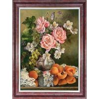 Каролинка КЛ 3031 Розы с фруктами. Принт для вышивки лентами