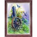 Каролинка КЛ 3036 Старое колесо. Принт для вышивки лентами