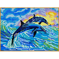 Каролинка Рисунок-схема на ткани «Каролинка Азовья» КБЖ 3001 Дельфины Рисунок-схема на ткани «Каролинка» КБЖ 3001 Дельфины