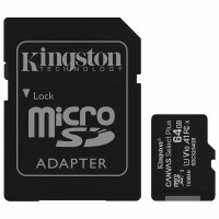 KINGSTON SDCS2/64GB Карта памяти microSDXC 64 GB KINGSTON Canvas Select Plus, UHS-I U1, 100 Мб/с (class 10), адаптер, SDCS2/64GB