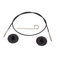 KnitPro 10520 Набор: черный тросик 20см (40 см), заглушки и кабельный ключик KnitPro, 10520