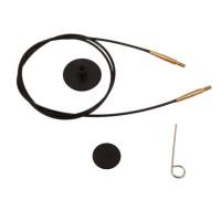 KnitPro 10536 Набор: черный тросик126см (150 см) с соед. золотист.цвет, заглушки и кабельный ключик KnitPro, 10536