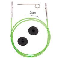 KnitPro 42177 Набор Smart Stix: неоново-зеленый тросик 126 см (150 см), заглушки 2 шт, кабельный ключик