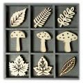 """Knorr Prandel 2118521020 Декоративные элементы из дерева в коробочке """"Грибы и листья"""""""