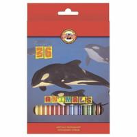 "KOH-I-NOOR 3555036008KSRV Карандаши цветные 36 ЦВЕТОВ KOH-I-NOOR ""Animals"", заточенные, 3555/36, 3555036008KSRV"