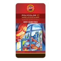 """KOH-I-NOOR 3822012002PL Карандаши цветные художественные KOH-I-NOOR """"Polycolor"""", 12 цветов, 3,8 мм, металлическая коробка, 3822012002PL"""