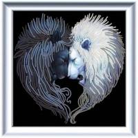 Конёк 8510_НИК Рисунок на ткани «Конёк» 8510  Львы солнца и луны  25х25 см