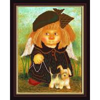 Конёк НИК9890 Дама с собачкой. Схема для вышивания бисером
