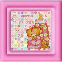 Конёк НИК9892 Метрика для девочки. Схема для вышивания бисером