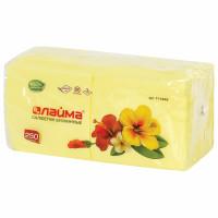 ЛАЙМА 111948 Салфетки бумажные 250 шт., 24х24 см, LAIMA/ЛАЙМА, желтые (пастельный цвет), 100% целлюлоза, 111948
