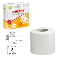 ЛАЙМА 126904 Бумага туалетная бытовая, спайка 4 шт., 2-х слойная (4х19 м), ЛАЙМА, белая, 126904