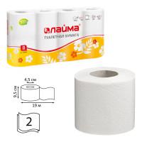 ЛАЙМА 126905 Бумага туалетная бытовая, спайка 8 шт., 2-х слойная (8х19 м), ЛАЙМА, белая, 126905