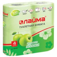 ЛАЙМА 128722 Бумага туалетная бытовая, спайка 4 шт., 2-х слойная (4х19 м), ЛАЙМА, аромат яблока, 128722