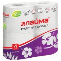 ЛАЙМА 128724 Бумага туалетная бытовая, спайка 4 шт., 3-х слойная (4х18 м), ЛАЙМА, белая, 128724