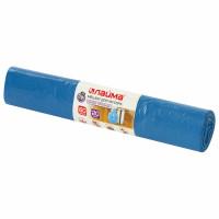 ЛАЙМА 601382 Мешки для мусора 60 л синие в рулоне 20 шт. особо прочные, ПВД 30 мкм, 60х70 см, LAIMA, 601382