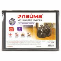 ЛАЙМА 601394 Мешки для мусора 240 л, черные, в пачке 5 шт., особо прочные, ПВД 60 мкм, 90х140 см, LAIMA, 601394