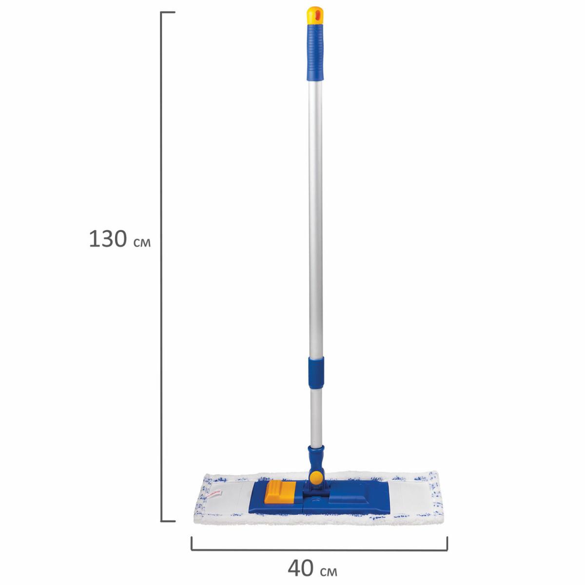 Швабра с флаундером 40 см, телескопический черенок 130 см, резьба 1,6 см, микрофибра/абразив (ТИП К), LAIMA, 601462 (арт. 601462)