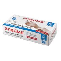 ЛАЙМА 605010 Перчатки виниловые белые, 50 пар (100 шт.), неопудренные, прочные, размер M (средний), LAIMA, 605010