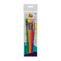 """Лео LSB-01 Набор кистей """"Лео"""" набор цветных кисточек LSB-01 5 шт. короткая ручка ."""