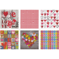 Love2Art SDD-1216-10 Салфетки бумажные «Love2Art» АССОРТИ 3-х слойные SDD 33х33 12 шт. №1216-10 Романтика