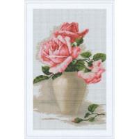 "Luca-S B507 B507 Набор д/вышивания ""Лука-С""канва 7 кл.""Розовые розы в белой вазе"""