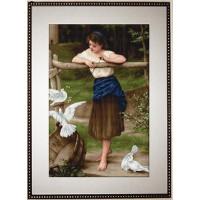 """Luca-S В516 B516 Набор д/вышивания """"Лука-С"""" Девушка дразнящая голубей"""