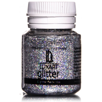 Декоративные Блестки LuxGlitter Голографическое серебро 20 мл