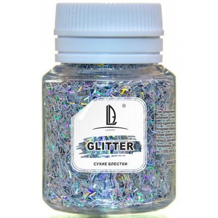 Декоративные Блестки LuxGlitter Голографическое серебро палочки (0,2*1,5 мм) 20 мл