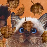 """М.П.Студия  Набор для вышивания """"М.П.Студия"""" БГ №07 №182 """"Котик в листьях"""" 22 х 28 см"""