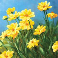 """М.П.Студия  Канва/ткань с рисунком """"М.П.Студия"""" для вышивания бисером №1 40 см х 40 см Г-027 """"Полевые цветы"""""""