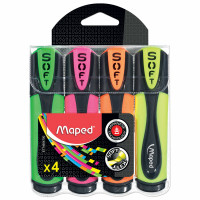 "MAPED 746047 Набор текстовыделителей MAPED 4 шт., ""Fluo Pep's Ultra soft"", АССОРТИ, гибкий наконечник, 1-5 мм, 746047"