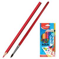 """MAPED 836011 Карандаши цветные акварельные MAPED (Франция) """"Color'Peps"""", 12 цветов + кисть, 2,9 мм, европодвес, 836011"""