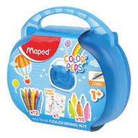 """MAPED 897416 Набор для творчества MAPED """"Color'Peps Jumbo"""", 10 фломастеров, 12 утолщенных восковых мелков, раскраска, пластиковый пенал, 897416"""