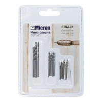 "Micron SMM-01 ""Micron"" Мини-сверла SMM-01 d от 0.5 до 2.5 мм в блистере металлические"