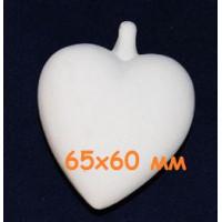 МП Студия М123 Заготовка керамическая Сердце подвесное (м) h = 65х60 мм