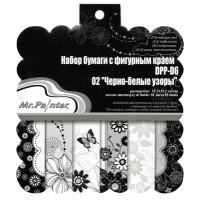 """Mr.Painter DPP-D6 Бумага для скрапбукинга DPP-D6 Набор бумаги с фигурным краем 15.2 x 15.2 см 18 л. 02 """"Черно-белые узоры"""""""