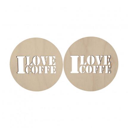"""Заготовка для декорирования """"Mr. Carving"""" ВД-297 Подставка под горячее фанера 8.5 x 8.5 см 2 шт I love coffee (арт. ВД-297)"""