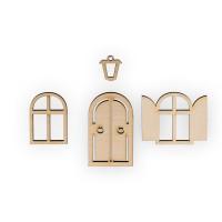 """Mr. Carving ВД-521 Заготовка для декорирования """"Mr. Carving"""" ВД-521 Мини-набор фанера 1.5 x 4.3 см №1 """"Окна, фонарь и дверь"""""""