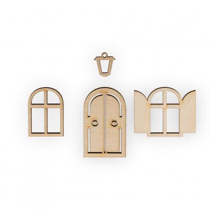 """Заготовка для декорирования """"Mr. Carving"""" ВД-521 Мини-набор фанера 1.5 x 4.3 см №1 """"Окна, фонарь и дверь"""" (арт. ВД-521)"""