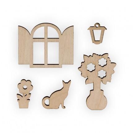 """Заготовка для декорирования """"Mr. Carving"""" ВД-522 Мини-набор """"Окно, цветы, фонарик, кошка"""" фанера 1.3 x 4.5 см . (арт. ВД-522)"""