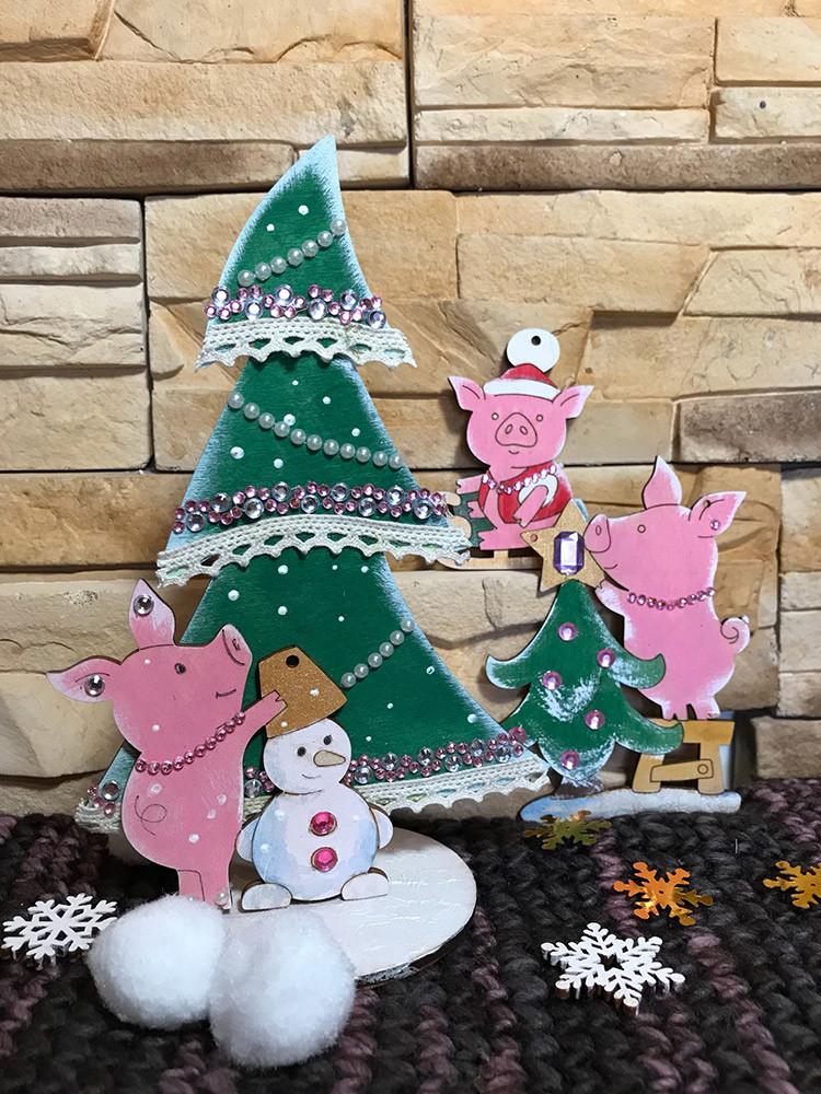 """Заготовка для декорирования """"Mr. Carving"""" ВД-637 Свинка на подставке """"Новый год"""" фанера 6.9 x 10 см . (арт. ВД-637)"""
