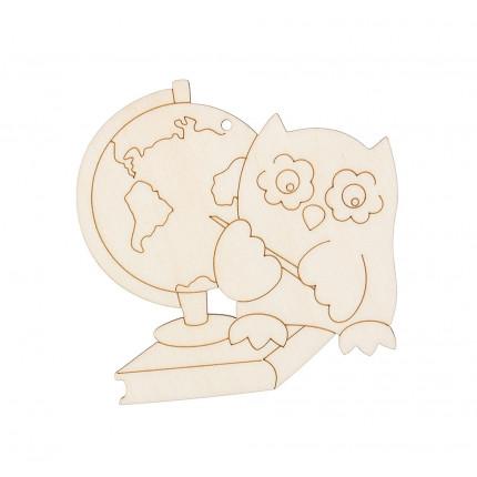 """Заготовка для декорирования """"Mr. Carving"""" ВД-649 Подвеска фанера 10 x 14 см """"Сова с глобусом"""" (8х8 см) (арт. ВД-649)"""