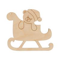 """Mr. Carving ВД-781 Заготовка для декорирования """"Mr. Carving"""" ВД-781 Подвеска фанера 9 x 10 см  """"Сани с мишкой"""""""