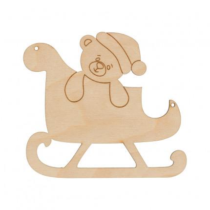 """Заготовка для декорирования """"Mr. Carving"""" ВД-781 Подвеска фанера 9 x 10 см  """"Сани с мишкой"""" (арт. ВД-781)"""