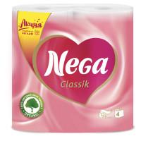 """NEGA  Бумага туалетная бытовая, спайка 4 шт., 2-х слойная (4х17,5 м), NEGA Classic (""""Нега""""), белая"""
