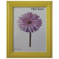 "NO NAME 0065-4-0002 Рамка премиум 10х15 см, дерево, багет 26 мм, ""Linda"", желтая, подставка, 0065-4-0002"