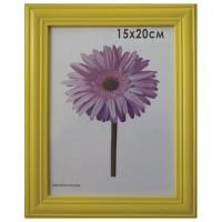 "NO NAME 0065-6-0002 Рамка премиум 15х20 см, дерево, багет 26 мм, ""Linda"", желтая, подставка, 0065-6-0002"