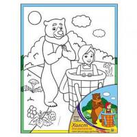 Рыжий кот 11-104753 Картина по номерам Маша и Медведь (18*24см, акриловые краски, кисть) Х-9827, (Рыжий кот)