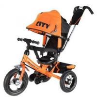 Прочие 11-135899 Велосипед-коляска CITY JD7O (3-х колесный,ручка управления,надувные колеса d=10 и 8 дюймов,регулируемая спинка) (оранжевый), (SHENZHEN GBC GLORY BUSINESS CORPORATION LTD)